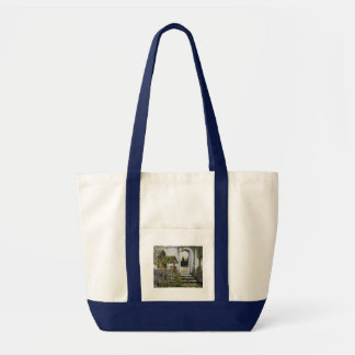 Wishing well garden ~Oil Painitng Canvas Bag