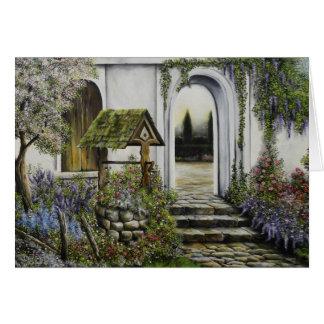 Wishing well garden ~Oil Painitng Card