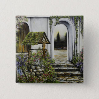 Wishing well garden ~Oil Painitng Pinback Button