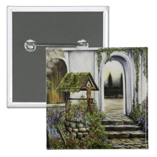 Wishing well garden ~Oil Painitng Pinback Button