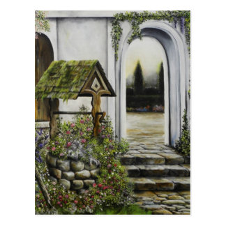 Wishing well garden ~Oil Painitng Postcard