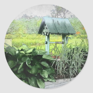 Wishing Well Greeting Cards Round Stickers