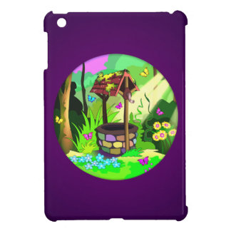 Wishing Well Magic Butterfly Forest Circle Purple iPad Mini Covers