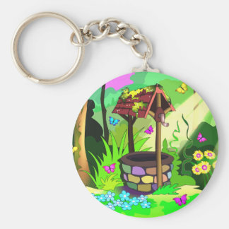 Wishing Well Magic Forest Butterflies Flowers Keychain