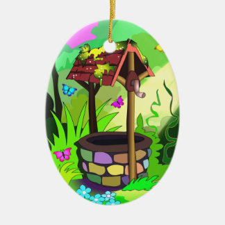 Wishing Well Magic Forest Butterflies Ornament