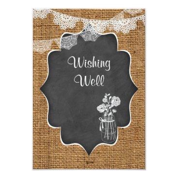 Wishing Well | Mason Jar, Lace, Burlap, Chalkboard Custom Announcement
