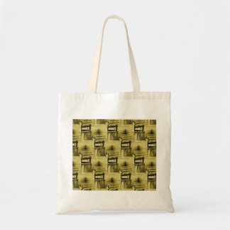 Wishing Well Pattern Faded Vintage Tan Canvas Bag