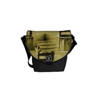 Wishing Well Pattern Faded Vintage Tan Messenger Bag
