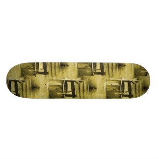 Wishing Well Pattern Faded Vintage Tan Custom Skate Board