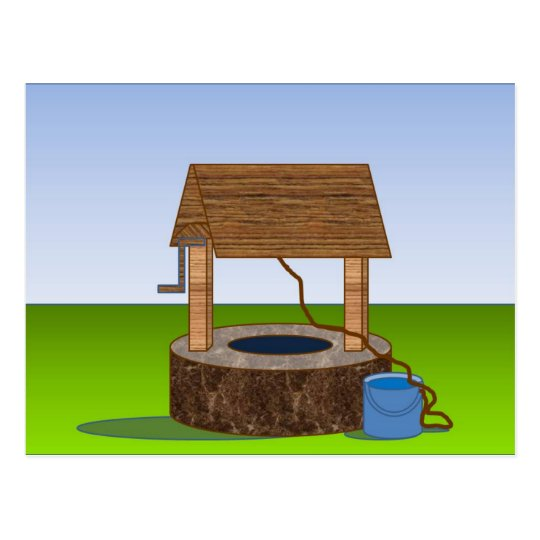 wishing well postcard