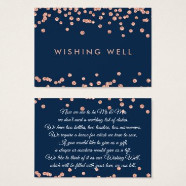 Wedding Themed Wishing Well Rose Gold Glitter Confetti Navy Blue Business Card