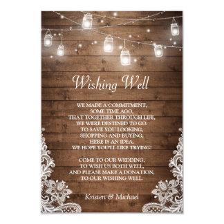 wishing well rustic wood mason jar lights lace card