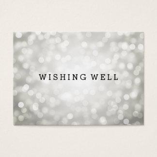 Wishing Well Silver Glitter Lights Business Card