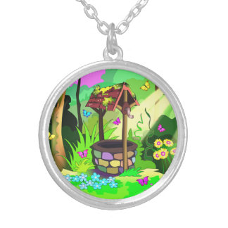 Wishing Well Silver Plate Necklace Round