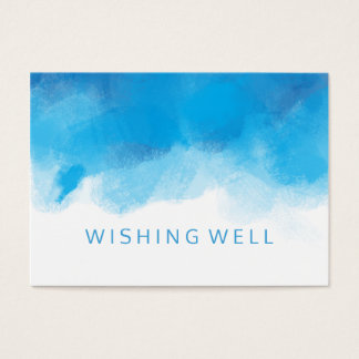Wishing Well Summer Wedding Blue Watercolor Business Card