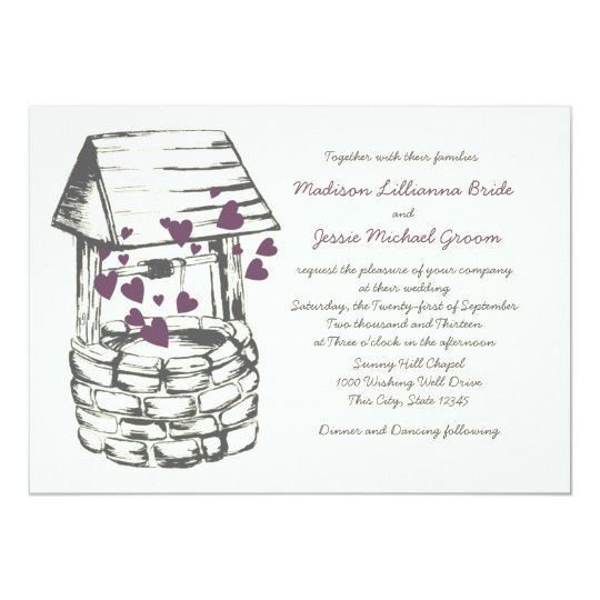 Wishing Well Wedding Plum Hearts Card