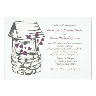 Wishing Well Wedding Plum Hearts Custom Invitation