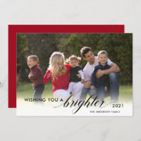 Wishing You a Brighter 2021 Photo Red New Years Holiday Card