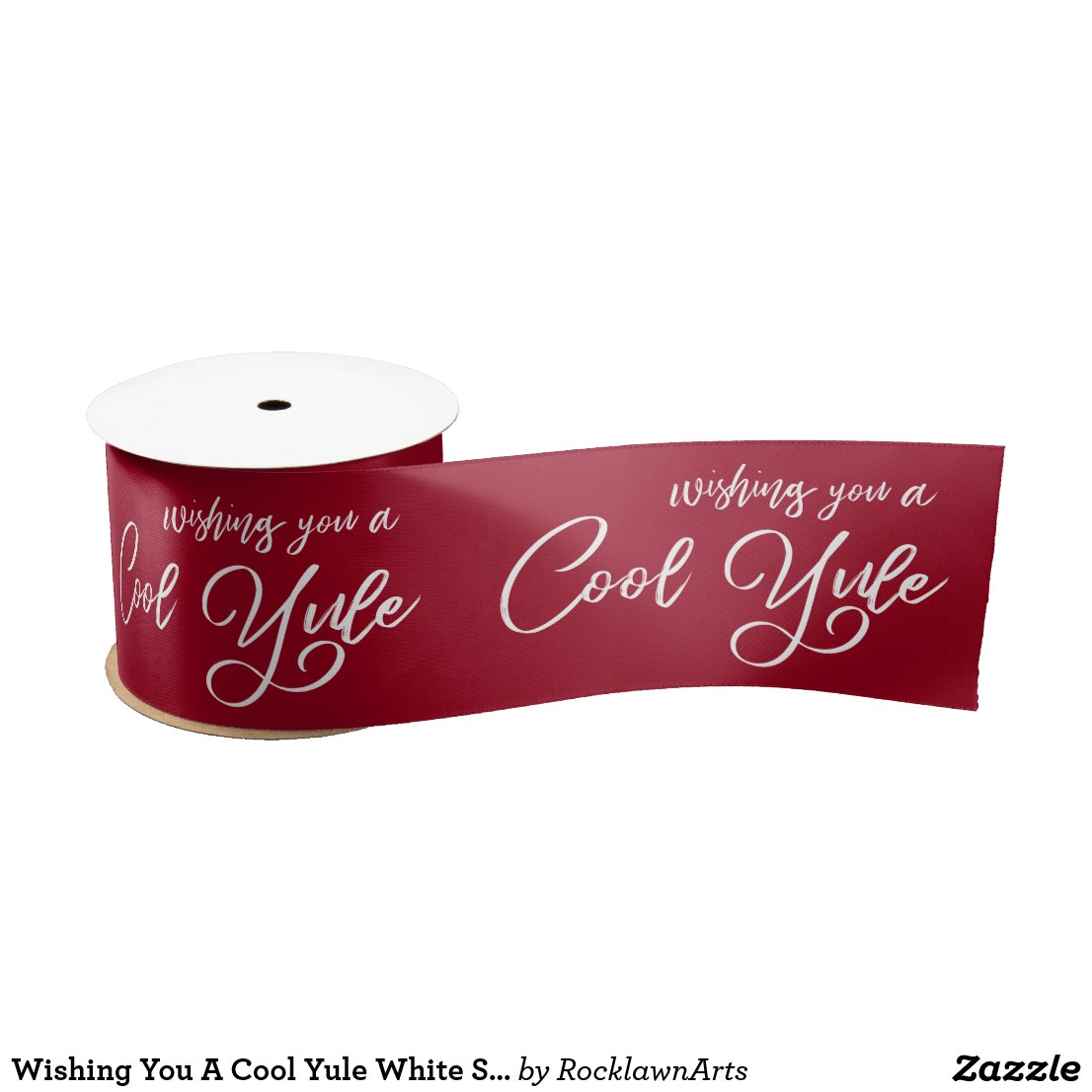 Wishing You A Cool Yule White Script Burgundy Satin Ribbon