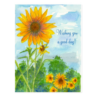 Wishing You A Good Day Watercolor Sunflowers Postcard