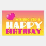 Wishing you a Happy Birthday! card Rectangular Sticker