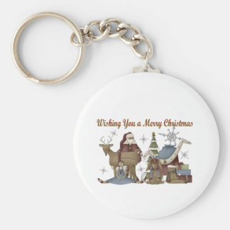 Wishing You a Merry Christmas Basic Round Button Keychain