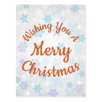Wishing You A Merry Christmas | Blue Snowflakes Postcard