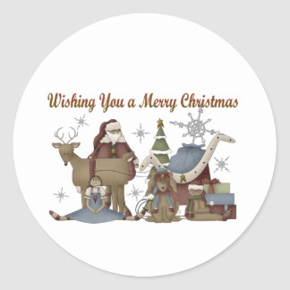 Wishing You a Merry Christmas Classic Round Sticker