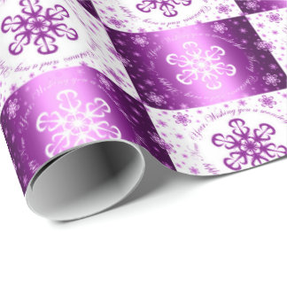 """""""Wishing you a Merry Christmas"""" Purple & White Wrapping Paper"""