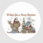 Wishing You a Merry Christmas Round Sticker