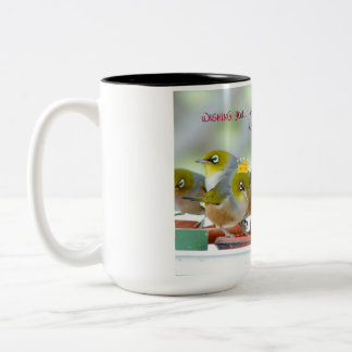 Wishing You A Merry Christmas - Silver-Eyes Two-Tone Coffee Mug