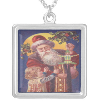 Wishing You a Merry Christmas Square Pendant Necklace