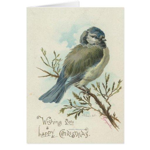 Wishing You A Merry Christmas, Vintage Blue Bird Card