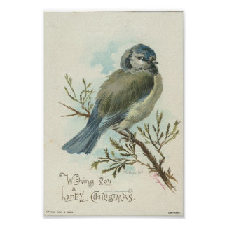 Wishing You A Merry Christmas, Vintage Blue Bird Poster