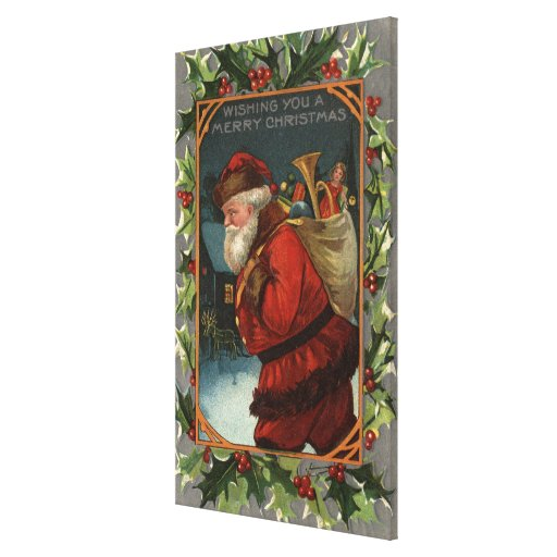 Wishing You a Merry ChristmasSanta Marching Canvas Print