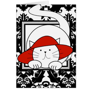 Wishing You a Purrfectly Delightful BD Red Hat Cat Greeting Card