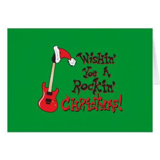 Wishing You a Rocking Christmas Clock Pillow Mugs Greeting Card