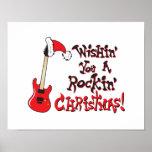 Wishing You a Rocking Christmas Clock Pillow Mugs Poster