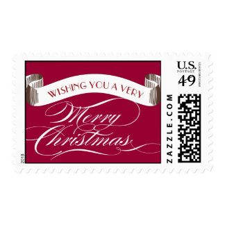 Wishing you a Very Merry Christmas - Holiday Posta Stamp