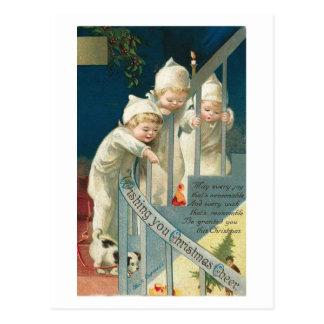 Wishing You Christmas Cheer Kids Dog on Stairwell Postcard