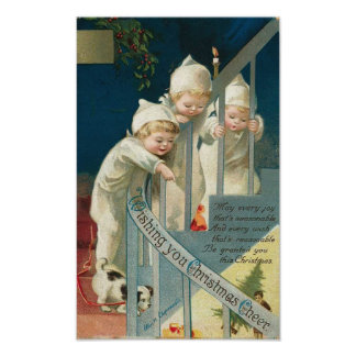 Wishing You Christmas Cheer Kids, Dog on Stairwell Posters