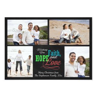 "Wishing you Faith, Hope and Love 5"" X 7"" Invitation Card"