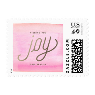 WISHING YOU JOY PINK photo christmas postage stamp