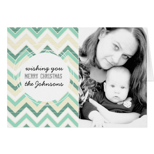 wishing you merry christmas turquoise chevron greeting card