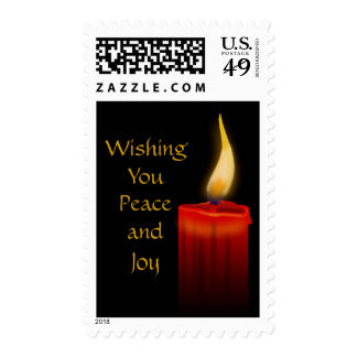 Wishing You Peace and Joy Red Lit Christmas Candle Stamp
