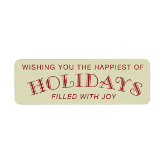 Wishing You The Happiest of Holidays - Sticker Return Address Label