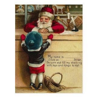 WishList to Santa Victorian Child Talks to Santa Postcard