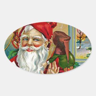Wispering to Santa Oval Sticker