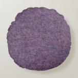 Wispy Black Purple White Faux Shag Texture Round Pillow