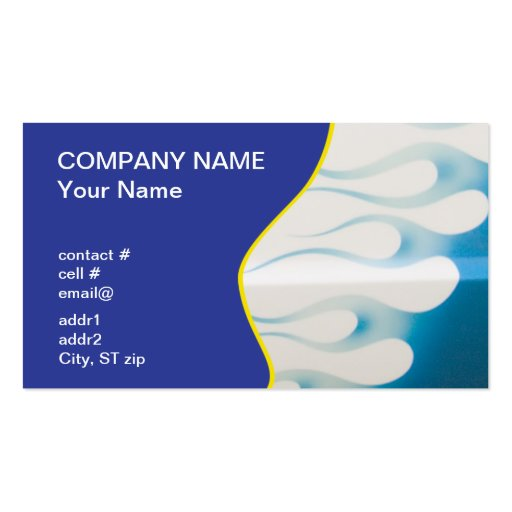wispy blue hotrod flames business cards